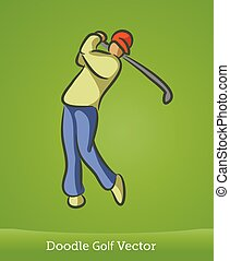 doodle golf isolated on green background. Vector