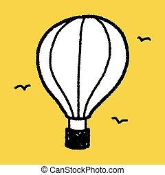 doodle, gorący, balloon, powietrze