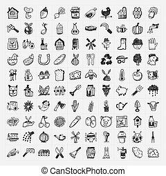 doodle, gospodarka, komplet, ikona