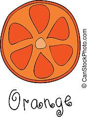 Doodle grapefruit slice