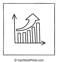 Doodle graph chart icon or logo, hand drawn with thin black line.