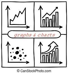 Doodle graph icons set