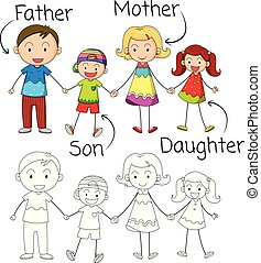 Doodle graphic of family