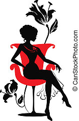 graphic silhouette of a woman - Doodle graphic silhouette of...