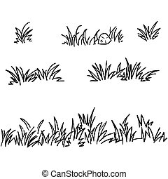 doodle grass illustration collection handdrawn style