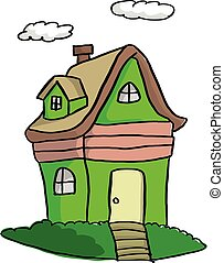 doodle green house with clouds vector illustration sketch hand drawn with black lines isolated on white background