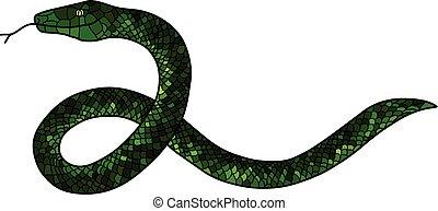 doodle, groene slang