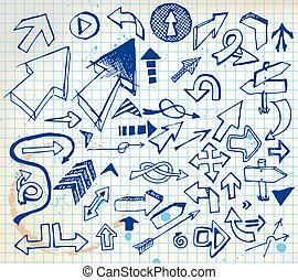 doodle, groot, set, pijl, gevarieerd