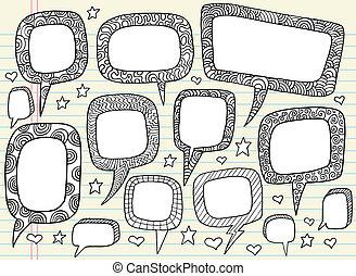 Doodle Groovy Speech bubble set