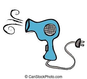 doodle hairdryer, vector