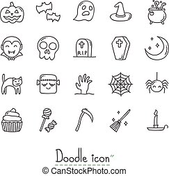Doodle Halloween Icon Set.