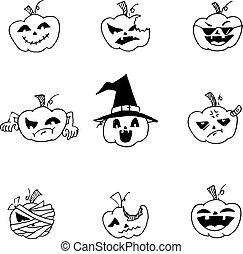 Doodle Halloween pumpkins set