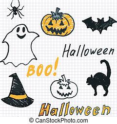 doodle, halloween, seamless, achtergrond