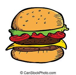 doodle, hamburger