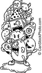 doodle-hand, cartone animato, disegno
