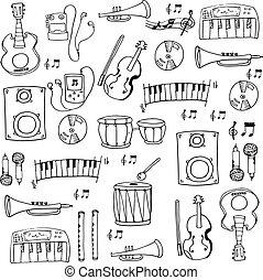 Doodle hand draw music set
