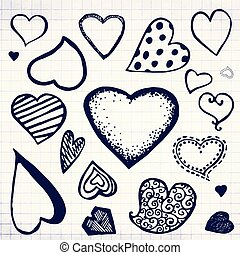 Doodle hand drawn blue ink heart icons set