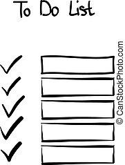 doodle, hand-drawn, lista de verificação