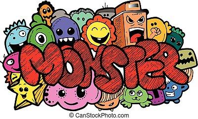 doodle, hand-drawn, monster, spotprent