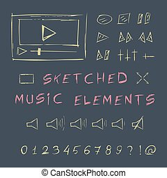 Doodle hand drawn music elements set, sketch design.