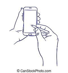 smart phone control with stylus - doodle hand drawn sketch...