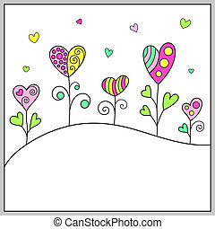 Doodle Hand-drawn Template with Hearts for Romantic Message.