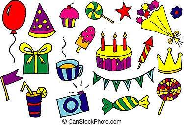 doodle hand drawn vector cartoon birthday elements with gift box, lollipop, cake and cupcake, flowers, crown, balloon