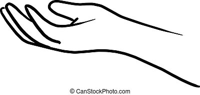 doodle hand gesture of giving vector illustration sketch hand drawn with black lines isolated on white background