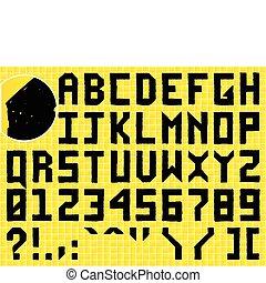 Doodle Hand Made Alphabet on Tiled Background