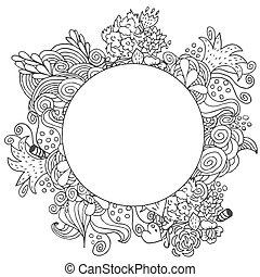doodle, hand, vector, ontwerp, getrokken, floral, monochroom, ronde, kaart
