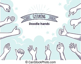 Doodle hands like dislike. Happy client hand drawn concept, thumb up and disagree business sketch. Vector customer opinion set