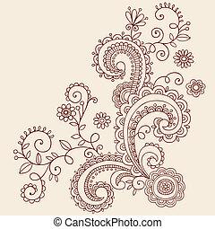 doodle, hanna, paisley, wijngaarden, vector