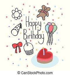 Doodle happy birthday with love cake