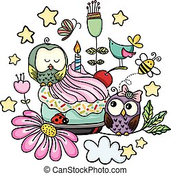 Doodle happy birthday with owls