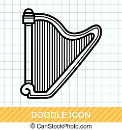 doodle, harpa,  musical, instrumento