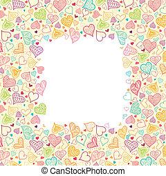 doodle, hartjes, verticaal, frame, achtergrond, grens