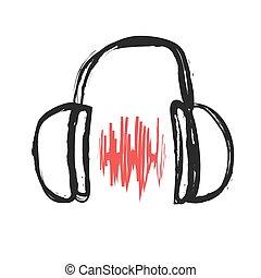 doodle headphones, vector