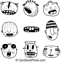 Doodle Heads and Outline Cartoon Monster Face Emotions Collection