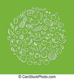 doodle healthy food icons