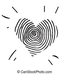 Doodle heart icon isolated on white background. Vector...
