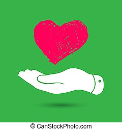 doodle heart in flat hand icon - vector illustration