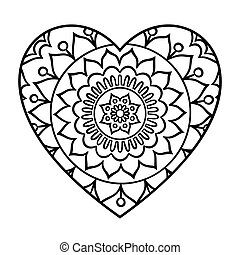 Doodle Heart Mandala - Doodle heart mandala coloring page....
