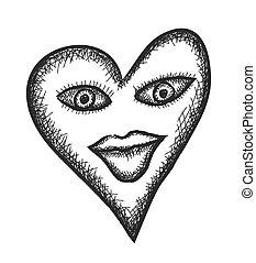 doodle heart sign, vector