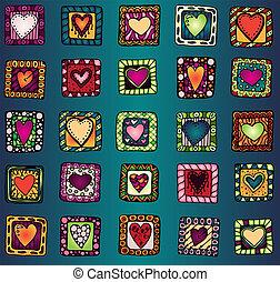 doodle, hearts., tekening, verzameling, origineel