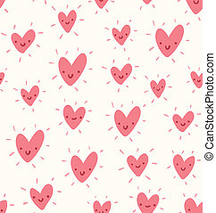 Doodle hearts valentine seamless pattern