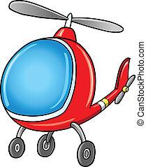 doodle, helicóptero, caricatura, cute