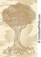 Doodle Henna Sketch Groovy Tree