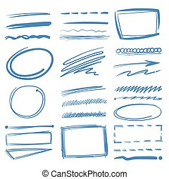 Doodle highlighter vector elements, sketch circles, hand...