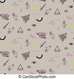 Doodle hipster flash tattoo style seamless beige vector...