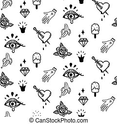 Doodle hipster flash tattoo style seamless vector pattern.
